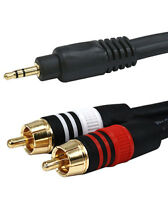 """3ft Premium (1/8"""") 3.5mm Aux  Stereo Male to 2-RCA Male Audio Cable Cord MP3"""