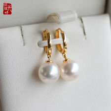 Gorgeous AAA+ 10-11mm real natural South sea white round pearl earrings 18k GOLD
