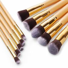 10Pcs Foundation Flat Kabuki Synthetic Contour Applicator Blender Makeup Brushes