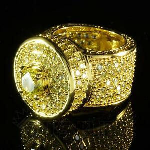 18K Gold CANARY Bling Out Iced Simulated Diamond Band MICROPAVE Men Ring NEW