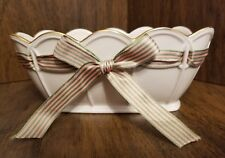 "Lenox Porcelain Pierced Ribbon Bowl ""Great Giftables"", Cream w/Pink & Green"