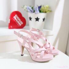 Sweet Women's Roman Sandals Shoes Hollow Out Open Toe Mid Stiletto Heel Open Toe