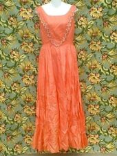 TRUE VINTAGE 30S/40S RARE CUSTOM CORAL TAFFETA PARTY PROM DRESS SIZE MEDIUM WOW!
