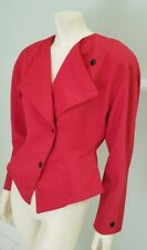 1980's big shoulder red wool power jacket M