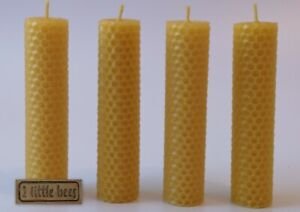 4 x Beeswax Candles Box Hand Pure Rolled Gift Ideas Home  Decor UK