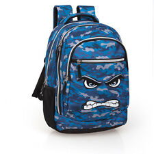 Boys Mens Laptop Backpack Rucksack 3 Zip School Blue Military Bag Faces ANGRY