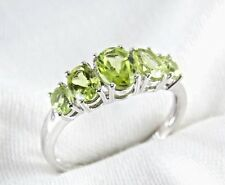 Genuine Peridot 5 Stone Ring 2.19ct 925 Sterling Silver Size 7 List $260