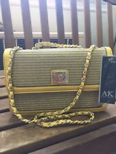"Anne Klein ""Lion Lady"" Natural & Daffodil Woven Look Cross Body Purse Clutch NEW"