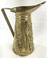 "Peerage Brass Embossed Pitcher Made in England Pub Scene 6.5"" Vintage Hammered"