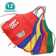KUUQA 12 Pack 6 Color Kids Aprons Children Painting Aprons Kids Art Smocks with