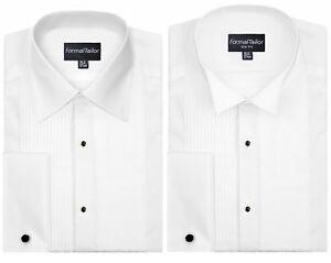 Mens White Regular / Wing Collar Wedding Pleated Dress Shirt Tuxedo Cufflinks