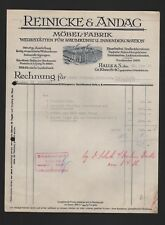HALLE/SAALE, Rechnung 1936, Reinicke & Andag Möbel-Fabrik Werkstätten Raumkunst