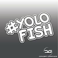 Funny # YOLOFISH JDM, EURO, DUB Car Window Bumper Novelty Vinyl Decal Sticker