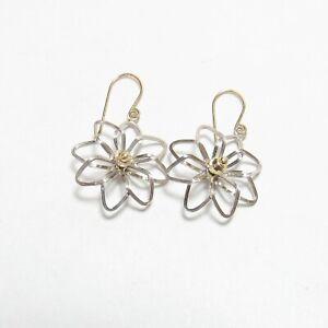 Estate 14K White And Yellow Gold Flower Dangle Earrings