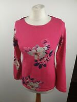 Joules Hot Pink Cotton Floral Scoop Neck 3/4 Sleeve Top T-shirt Size 10