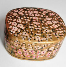 Papier mache trinket box Indian lacquer work pink flowers on gold background