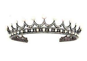 925 Sterling silver CZ Tiara Princess Crown White Round Shell Pearl Wedding Royl