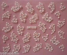 3D Nail Art Lace Stickers Decals WHITE SILVER Flowers Rhinestone Gel Polish (32)