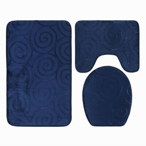 Memory Foam Bathroom Mat Set 3 Piece Non Slip Bath Rug Soft Toilet Lid Cover
