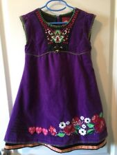 Oilily 128 Girls Purple Embroidered Dress 100% Cotton