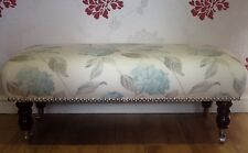 Footstool Stool And Four Cushions In Laura Ashley Hydrangea Duck Egg Fabric
