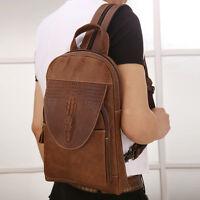 Men's Real Leather Sling Chest Pack Rucksack Crocodile Pattern Shoulder Backpack