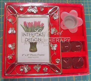 "Aromatherapy Rose Candles Photo Frame New Interiors Design 4"" X 6"" Gift Set"