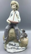 Lladro Figurine Sea Fever Boy With Boat And Dog #5166 A/F