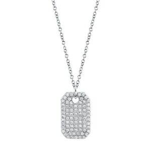 14K White Gold Diamond Dog Tag Pendant Necklace Natural Round Cut Womens 0.90 CT