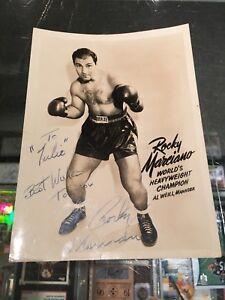 ROCKY MARCIANO WORLD'S HEAVYWEIGHT BOXING CHAMPION SIGNED 5X7 PHOTO JSA AUTHENT