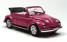 selten: VW Käfer Cabrio Modellauto 1:64 Metall Spritzguss ca. 6cm pink WELLY