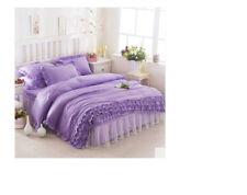 E72 Queen Size Lace Bedding Bed Skirt+Quilt Cover+Pillow Case 4 PCS Set O