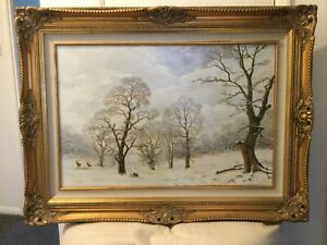 Large Vintage Ladscape Oil Painting Of Deer In Snow Scene Framed Signed W Dawson