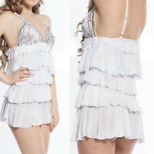 White Layered Ruffled Top Lingerie Teddy Mini Dress Chemise Nightgown Med-6XL US