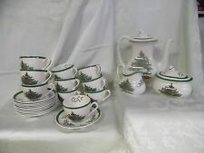 Spode Christmas Tree pattern coffee set (pot, sugar, creamer, 10 cups/saucers)