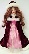 Porcelain Doll of a Young Lady with Formal Gown & Red Velvet Cape & Hood - NM