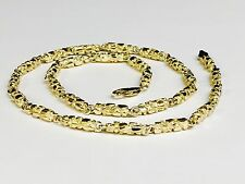 """10kt solid gold handmade NUGGET link chain/necklace 24"""" 55 grams 4.5 MM"""