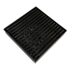 Black Matte Stainless Steel Wired Square Floor Grate Waste Drain 110*110*36MM