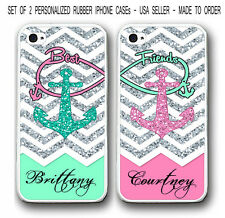 PERSONALIZED MIX MINT PINK CHEVRON ANCHOR Best Friends Case For iPhone X 8 7 6 5