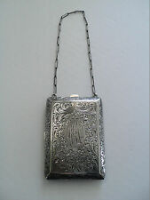 ANTIQUE STERLING SILVER LADIES DANCE / COIN PURSE with COMPACT, 104 grams