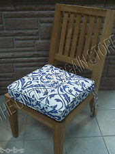 Frontgate Deluxe Double Piped Replacment Chair cushion cobalt Navy floral 17x17