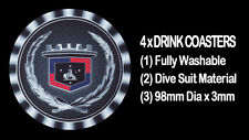 4  x  HOLDEN BONNET WREATH & LOGO HL, HZ, HG, HX, HZ, STATESMAN - DRINK COASTERS