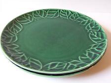 Pier 1 Stoneware Jade Leaves Set of 2 Dinner Plates Retired Pattern Green