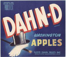 *Original* DAHN-D Top Hat Cane Gloves Dandy Wenatchee Apple Label NOT A COPY!