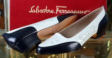 Salvatore Ferragamo TAMARA White Navy CALF Womens Shoes NEW Size 6.5B 6 1/2B