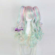 60cm Multi Color Curly Long Lolita Harajuku Ombre Cosplay Wig with 2 Ponytails