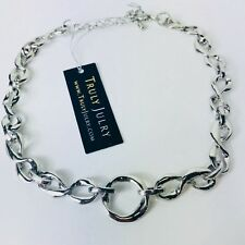 UK Ladies Designer Style Luxurious Chunky Link Silver Statement Necklace