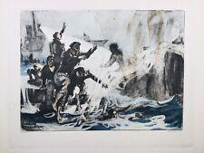 Bataille des Dardanelles en 1916 Marine Royaume Uni Guerre Gravure Fouqueray