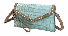 Sydney Love Faux Crocodile Aqua Clutch Bag Removable Wristlet & Crossbody Strap