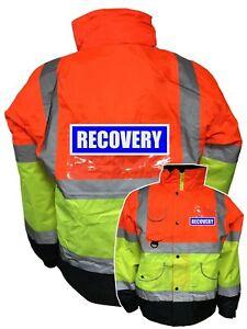 Superior Recovery Hi Vis Hi Viz Bomber Jacket with REFLECTIVE BADGES
